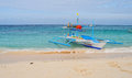 A bangka boat on the beach in Boracay, Philippines Royalty Free Stock Photo