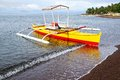 Bangka at island philippines picturesque seascape with camiguin Royalty Free Stock Photography