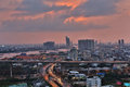 Bangkok capital city of thailand with river chao phraya at dusk Stock Image