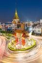 Bangkok chinatown the gateway arch odeon circle and wat trimitre golden buddha temple landmark of thailand Royalty Free Stock Image