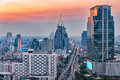 Bangkok city aerial view at twilight, business district with high building at dusk. Royalty Free Stock Photo
