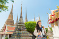 Bangkok city asian chinese woman enjoying view Royalty Free Stock Photo
