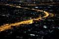 Bangkok city at night aerial view of in thailand Royalty Free Stock Photography