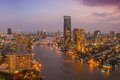 Bangkok city at night time hotel and resident area in the capital of thailand Stock Photography