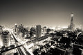 Night cityscape view of Bangkok, in black and white Royalty Free Stock Photo