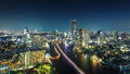 Bangkok the city of river at night chaophraya thailand Royalty Free Stock Photography