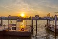 Bangkok city river port thailand march sunset in the old on the dock for the regular boat line Stock Image