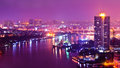 Bangkok city scape at nighttime panorama view of Royalty Free Stock Photography