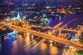Bangkok city skyline and Chao Phraya River in twilight, Bangkok, Thailand