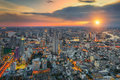 Bangkok city at sunset, Mahanakorn tower