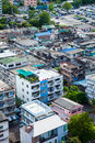 Bangkok city with tall buildings and small houses the residential density Stock Image