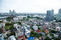 Bangkok city with tall buildings and small houses the residential density Royalty Free Stock Photo