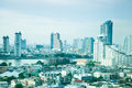 Bangkok city with tall buildings and small houses the residential density Stock Images