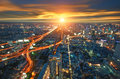 Bangkok city in thailand view from higher building with traffic Royalty Free Stock Photo