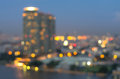 bangkok cityscape river view at twilight time, Blurred Photo bokeh Royalty Free Stock Photo