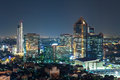 Bangkok cityscape at twilight group of building thailand Stock Photos