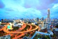 Bangkok downtown at dusk highway with skyline in thailand Royalty Free Stock Image