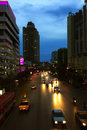 Bangkok at dusk city road with cars Royalty Free Stock Photo