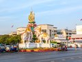 Bangkok elephants sculpture thailand march of and tuk tuk taxi starting point on the main road Stock Image