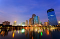 Bangkok in evening, reflection of buildings in water Royalty Free Stock Photos