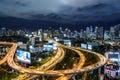 Bangkok expressway and highway top view at night thailand Royalty Free Stock Photography