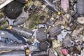 Plastic rubbish paper foam garbage pollution in river. Royalty Free Stock Photo