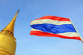 Bangkok Golden Mountain Temple And Thailand Flag Stock Photography