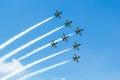 BANGKOK - MARCH 23:Breitling Jet Team Under The Royal Sky Breitling Team and Rayal Thai Air Force Air Show at Donmueang Bangkok
