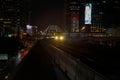 The Bangkok Mass Transit System BTS sky train arriving Chong Nonsi Station night time Royalty Free Stock Photo