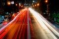 Bangkok night traffic Royalty Free Stock Photo