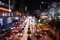 Bangkok night traffic jam Royalty Free Stock Photo