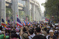 Bangkok protest situation in thailand thai anti government protesters march a street trough s capital on sunday dec they were Stock Photo