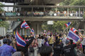 Bangkok protest situation in thailand thai anti government protesters march a street trough s capital on sunday dec they were Royalty Free Stock Photos