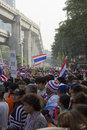 Bangkok protest situation in thailand thai anti government protesters march a street trough s capital on sunday dec they were Royalty Free Stock Images