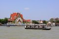 Bangkok Riverside Scene And Tourism Boat Royalty Free Stock Images