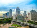 Bangkok s skyline with lumpini park bangkok thailand the Stock Photo