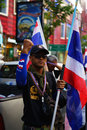 Bangkok shutdown rally security officer at the thai anti government demonstrations on sukhumvit road near chidlom thailand on Stock Images