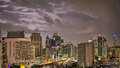 Bangkok Skyline hit by a storm at night editorial Royalty Free Stock Photography