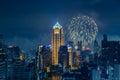Bangkok skyline at new years eve night panorama