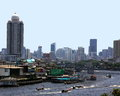 Bangkok skyline und chao praya river Stockbild