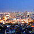 Bangkok skylines citscape of at victory monument downtown at dusk aerial view Royalty Free Stock Photo