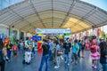 Bangkok tajlandia marzec atmosfera przy japonia anime amp music festiwalu wejściem folują goście i cosplayers od różnorodnych Fotografia Stock