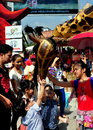 Bangkok, Th: Children with Giraffe Puppet Royalty Free Stock Photography