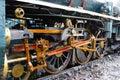 Close up - Train Wheel part of the Steam locomotive Location Thonburi Railway Station Royalty Free Stock Photo