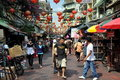 Bangkok, Thailand: Busy Chinatown Street Stock Photo
