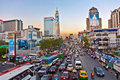 Main road in Bangkok in afternoon traffic jam Royalty Free Stock Photo
