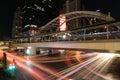 Bangkok thailand june night light at chong nonsi sky skywalk for transit between train on in Stock Image