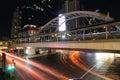 Bangkok thailand june night light at chong nonsi sky skywalk for transit between train on in Royalty Free Stock Images