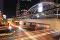 Bangkok thailand june night light at chong nonsi sky skywalk for transit between train on in Stock Photo
