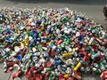 Bangkok, Thailand - June 30, 2021 Pile of aluminum beverage cans from various brands of drinks that are being recycled Royalty Free Stock Photo